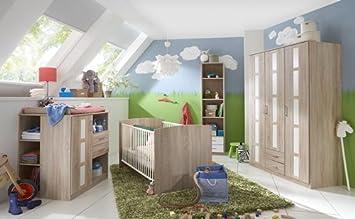 Babyzimmer Komplett Set In Eiche Sagerau Nachbildung Und Weiss 6 Tlg