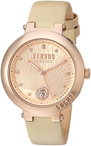 Versus by Versace Women's 'LANTAU Island' Quartz Stainless Steel and Leather Casual Watch, Color:Rose Gold-Toned (Model: VSP370317)
