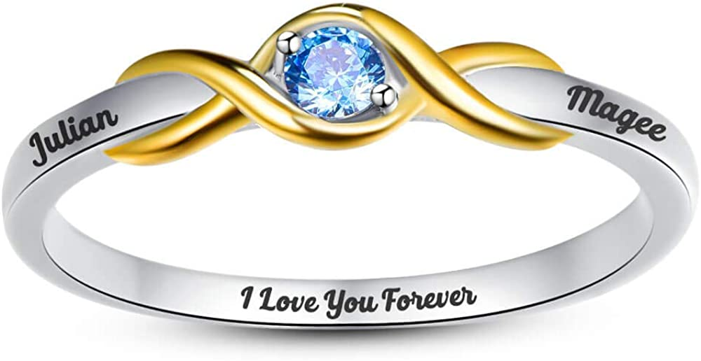BONLAVIE Infinity Custom Rings for Her Simulated Birthstone 925 Sterling Silver Engraved Rings for Women Eternity Wedding Band Cubic Zirconia Engagement Promise Ring Size 5-12