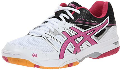 ASICS Women's Gel Rocket 7 Volleyball Shoe, White/Magenta/Black, 10 M US