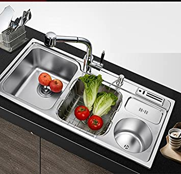 WINZSC Cocina de Acero Inoxidable 304 Engrosada con Cubo de ...