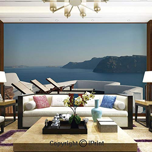 (Lionpapa_mural Wall Mural Showing All They Beauty Extremely Detailed Image, Sunlounger at Terrace in Santorini Greece Resort Relaxation Aegean,Home Decor - 100x144 inches)