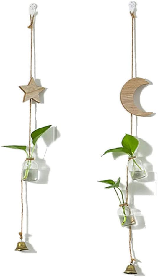 Hanging Planter Wall Decor Glass Flower Vase with Wooden Moon and Star Hydroponic Terrarium Bottle for Home Windows Balcony Decoration (Star&Moon)