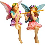 Mood Lab Fairy Garden – Fairy Figurines – Miniature Garden Fairies – Sitting Girls Set of 2 pcs – Kit for Outdoor or House Decor