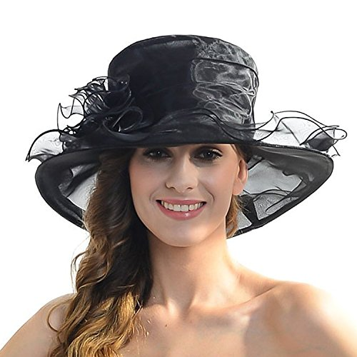 Women's Sheer Wide Brim Sun Party Church Wedding Floral Organza Hat(Black) ()
