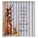 Generic Personalized I Can Do All Things Through Christ Which Strengtheneth Me Jesus Christian Bible Verse Series Sold By Too Amazing Shower Curtain Bath Decor Curtain 66 '' x 72 ''