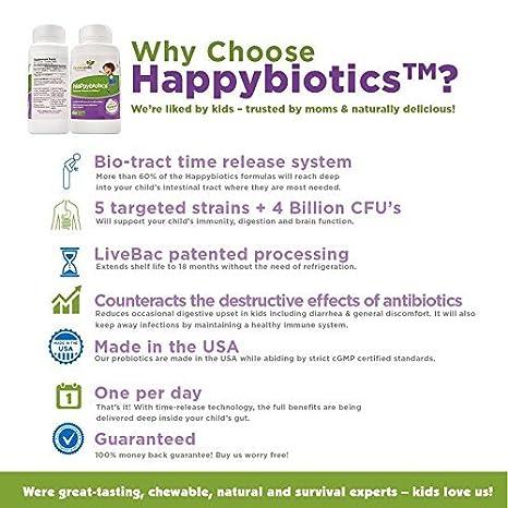 Probióticos HappyBiotics para niños - 60 comprimidos pequeños de toma diaria, con azúcar natural, 18 veces más eficaces que las cápsulas para niños de 2 ...
