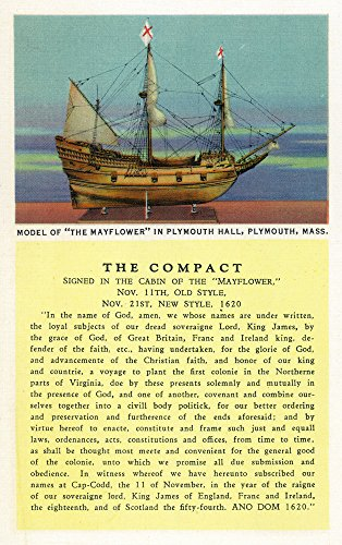 Plymouth, Massachusetts - Mayflower Model, the Compact in Plymouth Hall Scene - Vintage Halftone (12x18 Art Print, Wall Decor Travel -