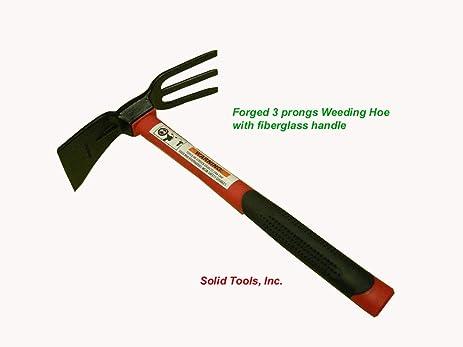 adze tool. adze hoe with fork, dual headed weeding tool