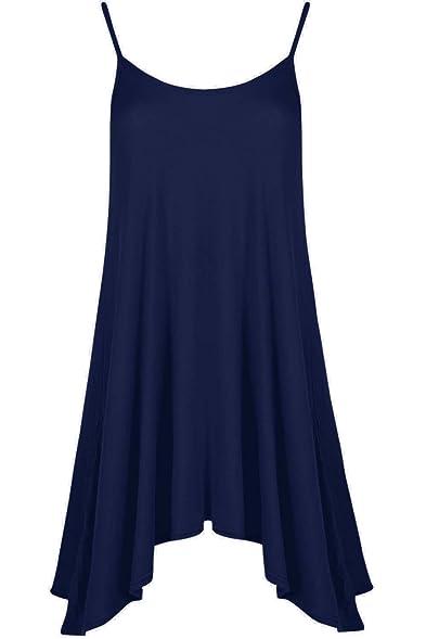 Be Jealous Damen Unterhemd Cami ausgestellt Skater Riemchen lang Swing  Minikleid ärmelloses Top UK Übergröße 8
