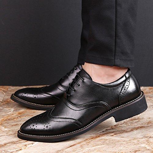 Tda Boys Hombres Classic Classic Lace Up Vestido Formal De Cuero Oxfords Zapatos Black