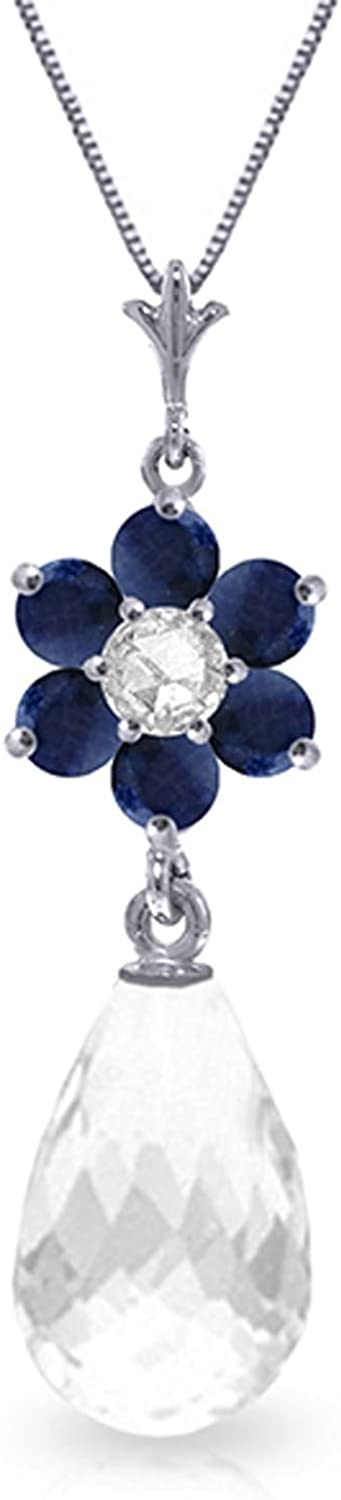 White Topaz Diamond with 18 Inch Chain Length ALARRI 2.78 Carat 14K Solid White Gold Necklace Sapphire