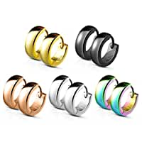 UNUStyle 5 Pairs Set of Classic Plain Dome Hoop Huggie Stainless Steel Earrings