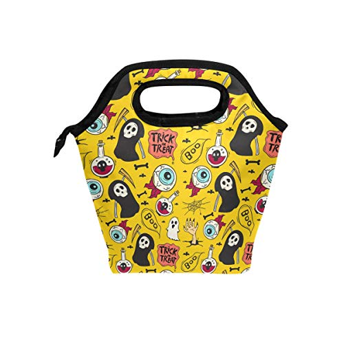 - U LIFE Happy Halloween Yellow Boo Ghost Trick Or Treat Lunch Bags Tote Picnic Cooler Insulated Bag Box for Kids Boys Girls Men Women