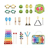 Toddler Toys Musical Instruments Set for Kids 20Pcs Mini Band Prime Wooden Baby Percussion Toy Rhythm Xylophone Band Drum Preschool Educational Early Learning