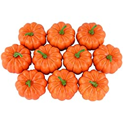 Artificial Mini Pumpkins Halloween House Decoration-Set of 10 - Orange
