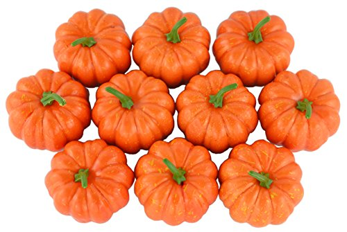 JEDFORE Fake Fruit Home House Kitchen Decoration Artificial Lifelike Simulation Mini Pumpkins Halloween House Decoration-Set of 10 - Orange