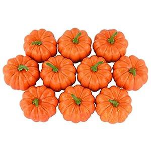 SAMYO Fake Fruit Home House Kitchen Decoration Artificial Lifelike Simulation Mini Pumpkins Halloween House Decoration-Set of 10 - Orange 22