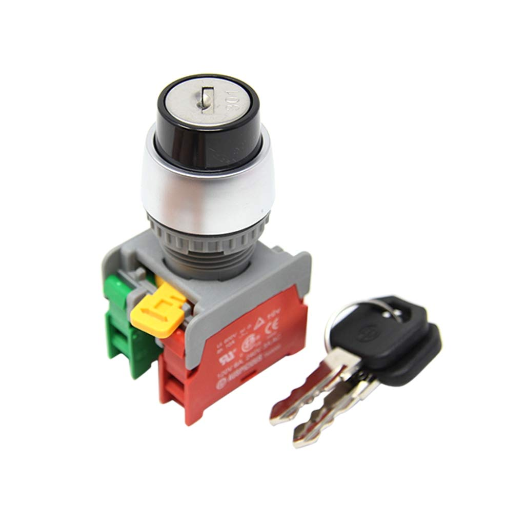 KS22-1O/C,1-2 2POSITION Switch: rotary with key Stabl.pos: 2 NC + NO 3A/230VAC 2