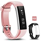 Fitness Tracker - LYOU U5 Activity Tracker: Fitness Watch Smart Bluetooth Wristband with Sleep Monitor and Black Replacement Strap for Android or iOS (Pink+black(strap))