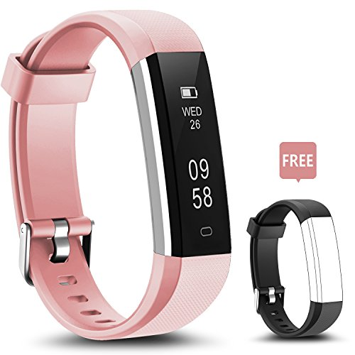 Fitness Tracker, LYOU U5 Activity Tracker: Fitness Watch Smart Bluetooth Wristband with Sleep Monitor and Black Replacement Strap for Android or iOS (Pink+black(strap))