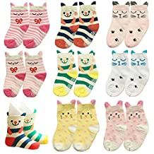 Toptim Non-skid Baby Socks Girl, Toddler Cute Cat Socks 8 Pairs