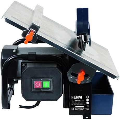 FERM Power Tile Cutter - Tile Cutting Machine - Wet Electric Tile Cutter - 600W - Water Cooling System - Parallel Guide - 0 - 45°- With 180mm Diamond Blade