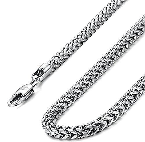 """Eyesworld Stainless Steel Wheat Chain Necklace for Men Women Necklace Bracelet Jewelry Set 5mm in Width, 24"""" 8.5"""""""