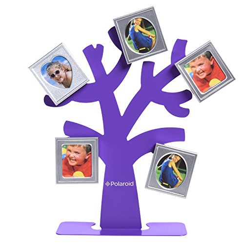 Polaroid Family Tree Frame – Tree with Stand & Five Magnetic Mini-Picture Frames (Purple) For Zink 2x3 Photo Paper Pojects (Snap, Zip, - Polaroid Purple