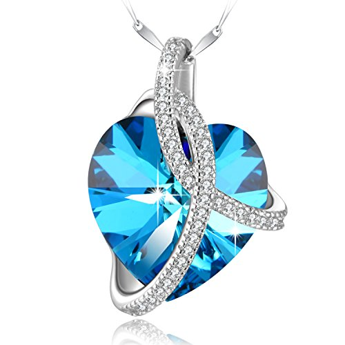 PLATO H Swarovski Element Necklace Color Changing Crystal Courageous Love Heart Pendant Necklace for Women, Birthday Birthstone Jewelry Gifts for Girl, Ocean Blue, 18