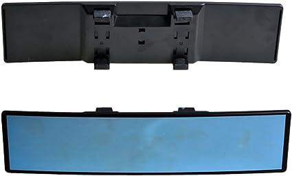 Vosarea Auto Rückspiegel Weitwinkel Blau Glas Panorama Blendschutz Innenspiegel Large Vision 280mm Gebogener Spiegel Schwarz Sport Freizeit