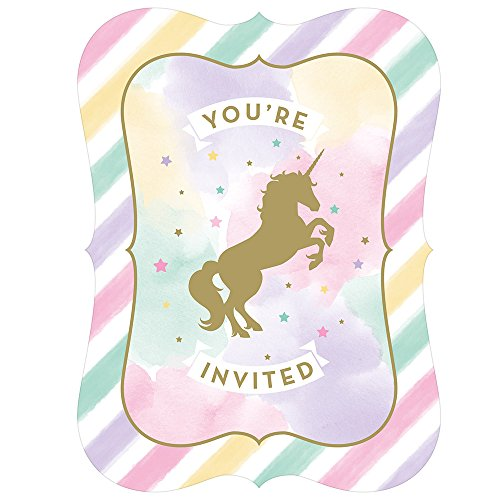 Creative Converting 329304 Unicorn Sparkle 48-Count Party invitations