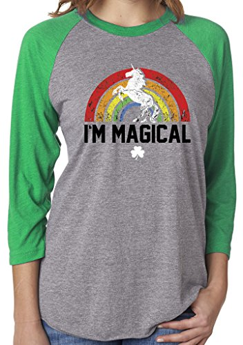 SoRock Unisex St. Patrick's Day I'm Magical Rainbow Unicorn 3/4 Sleeve Tri Blend Tshirt Large Green