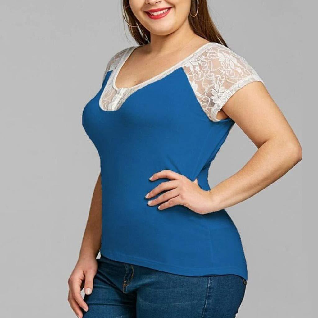 LRWEY Camisetas para Mujer, Camiseta de Encaje de Manga Corta con Cuello en V para Mujer Casual Botton Blusa: Amazon.es: Ropa y accesorios