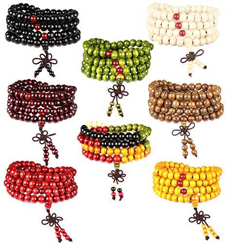 FIBO STEEL 8Pcs 8mm Wood 108 Mala Beaded Bracelet for Men Buddha Bracelet Elastic Black Bead Chain Necklace