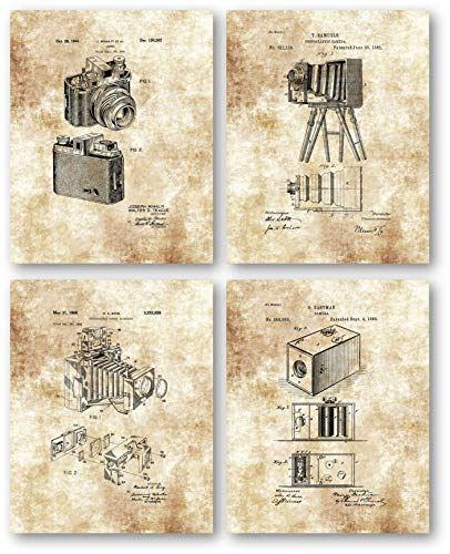 (Ramini Brands Original Camera Patent Artwork - Set of 4 8 x 10 Unframed Prints - Great Gift for Photographers - Photography Studio and Mancave Decor)