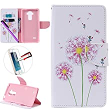 LG G4 Stylus LS 770 Case, ISADENSER Premium Mobile Cover Protect Skin Leather Cases Covers With Card Slot Holder Wallet Book Design For LG G Stylo LS770, Pink Dandelion