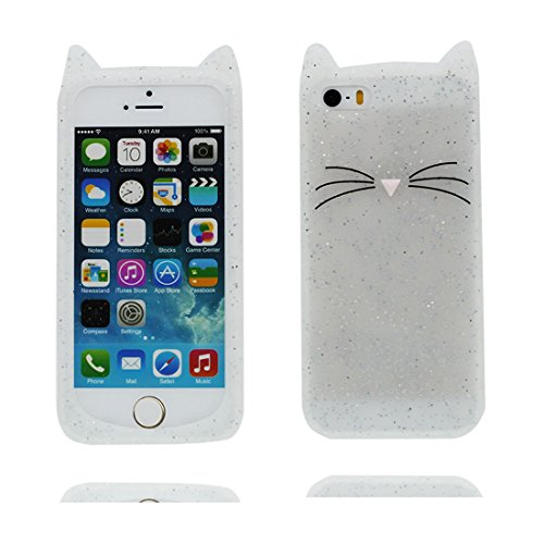 iPhone 5 Custodia, [ TPU protezione Premium Shell ] iPhone 5C 5G Copertura, Cartoon Tdurevole Case Cover per iPhone 5S SE (3D bianca gatto)