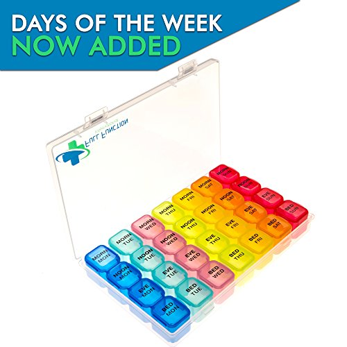 [2018 Model] Small 7 Day Pill Box & 4 Times a Day Pill Organizer, Ideal for your Weekly Prescription Medication Needs, With Days of the Week Labeled