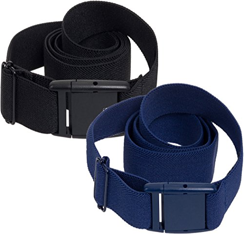 Silver Lilly Womens Invisible Belt - Elastic No Show Belt 2 Pack (Black/Blue, 0-14)