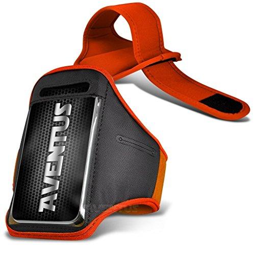 Aventus Sony Xperia XA / Xperia XA Dual (Hot Pink) Voll einstellbare Leicht Hulle Armband-Halter-Kasten-Abdeckung Running, Walking, Radfahren, Fitnessraum und andere Sportarten Orange