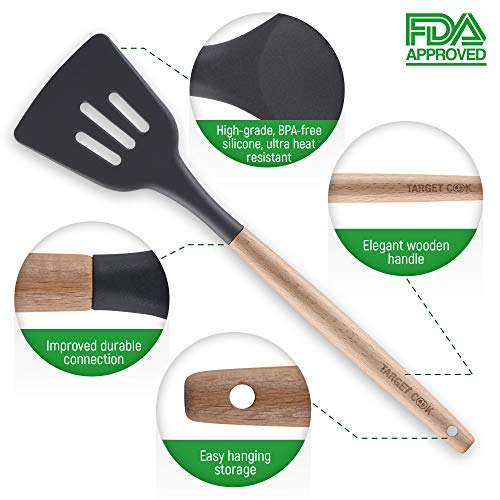 Kitchen Utensil Set - Silicone Cooking Utensils - Kitchen Accessories - Housewarming Gifts - Cooking Tools - Wooden Handle Cooking Spoons by TargetCook (Image #2)