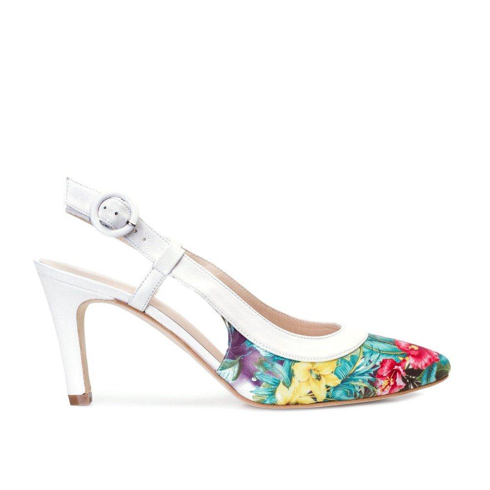 Gennia Megan Weiss Floral - Damen Pumps aus Glattleder Glattleder Glattleder gemacht Absatz Stiletto höhe 7 cm 5cf125