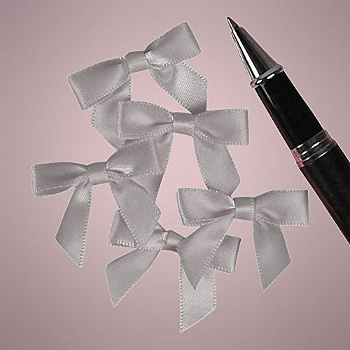 Mini Silver Satin Bows - 1 3/8 in. x 1in. - 50 Pack