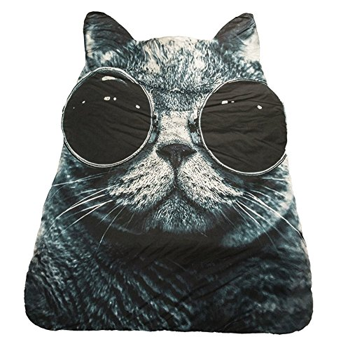 3D Animal Prints Blanket Bedding Sunglasses Cat Shaped Summer Quilt Comforter Washable Light Quilt by Getime