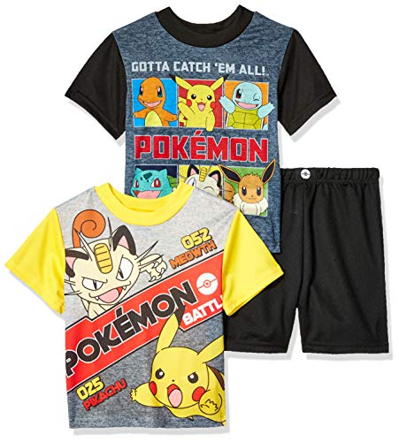 Pokemon Boys' Little 3-Piece Pajama Set, Pikachu Black, 6 ()