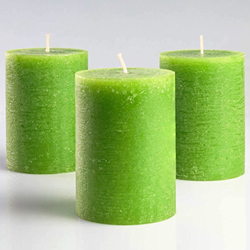 Melt Candle Company Set of 3 Green Pillar Candles 3 x 4 Rustic Unscented Fragrance-Free for Weddings, Home Decoration, Church, Relaxation, Spa, Smokeless Cotton Wick