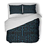 SanChic Duvet Cover Set Blue Game Video Retro Computer Screen Decorative Bedding Set with Pillow Sham Twin Size
