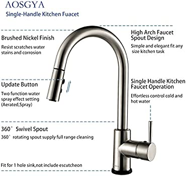 Aosgya Single Handle Kitchen Faucet With Pull Down Sprayer For 1 Hole Smart Touch Control Single Handle Pull Out Kitchen Sink Faucets Brushed Nickel Cupc Certified Lead Free Buy Online At Best
