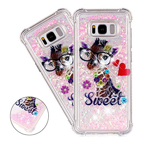 - HMTECHUS S8 Plus Case for Girls Painted Glitter Liquid Sparkle Floating Luxury Quicksand Shockproof?Protective Diamond Silicone Slim Cover for Samsung Galaxy S8+/S8 Plus -Bilng Sweet Deer YB